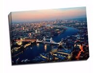"""Classic London Aerial View At Night Canvas Art Print Poster 30""""X 20"""" Inches"""