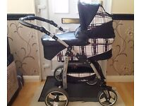 Baby Merc 3-in-1 Travel System; Swivel Wheels, Carry Cot, Pushchair & Car Seat