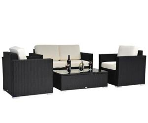 4-Piece Cushioned Outdoor Rattan Wicker Sofa Set Sectional Patio Furniture / Patio Furniture Brand New in box