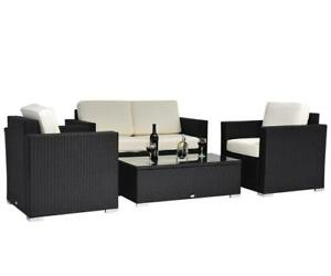 4-Piece Cushioned Outdoor Rattan Wicker Sofa Set Sectional Patio Furniture / Patio Furniture Brand New in box / no tax