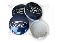 SET OF 4 x BLUE FORD ALLOY WHEEL CENTRE CAPS 54MM - FOCUS/MONDEO/FIESTA/KA etc