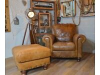 Vintage Leather Armchair with Footstool Studs