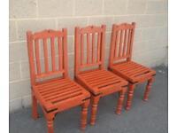 3 bestoke wooden garden chairs