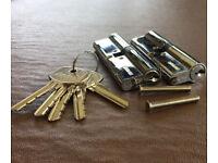 Euro locks, pair 50/50 100mm Avantis chrome, replacement cylinder, keyed alike;5 keys;2 fixing bolts