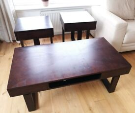 Coffee table + 2 side tables / dark wood / with internal rotating drawers