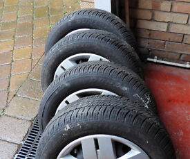 4 Renault Clio 4 Stud Wheels, Tyres and Trims; Dunlop SP 10 175/65/R14 82T Good 6mm Tread