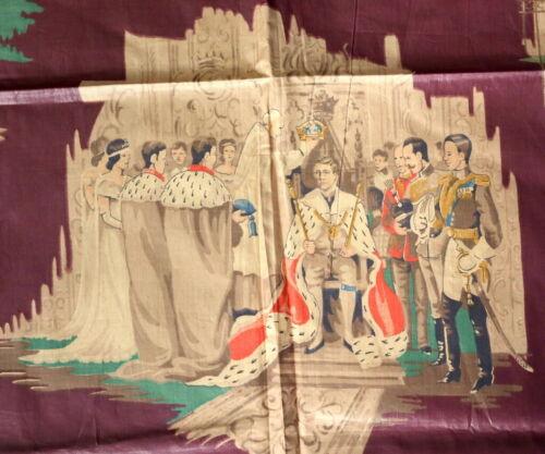 "Vintage 1930s King Edward VIII Coronation Fabric Commemorative Chintz 35"" by 52"""