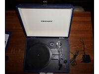 Crosely CR8005A-BL Blue Potable 3 Speed Record Player Turntable, Built-In Speakers