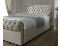 BRAND NEW Chesterfield style Fabric Upholstered Deep Buttoned Double Frame Storage Bed - Only £650
