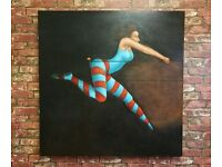 Original Large Acrylic on Canvas Trapeze Girl Circus Painting Art