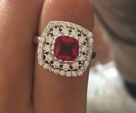 Ruby and white topaz 925 sterling silver ring