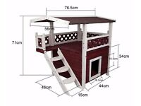 Petsfit Outdoor Cat House, Wooden Cat Lodge, Double-Decker Design, Wine Red and White, 76.5x52x71cm