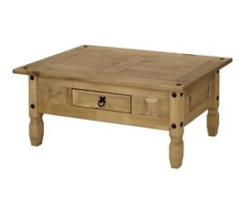 New Corona Pine Wooden Coffee Table with 1 Drawer Living Room Furniture Side End Table
