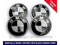BMW WHEEL CENTRE CAPS BLACK CARBON FIBRE TUNING 68MM BRAND NEW SET x 4