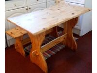 1970's solid wood 1970's kitchen table and bench