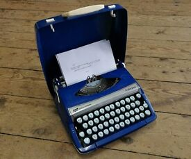 Vintage Smith-Corona Calypso Bright Blue Working Typewriter