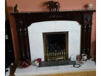 Mahogany fire surround with marble inset and granite hearth