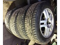 "SET OF FORD 15"" ALLOYS AND TYRES 8Jx15H2 ET52.5 ,195 60 15 tyres"