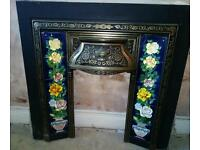 Cast iron fireplace insert.