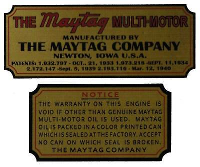 Maytag Gas Engine Decal Set 72 Twin 92 Singles Multi Motor Wringer Washer