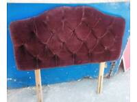 Single Brown Velvet Headboard