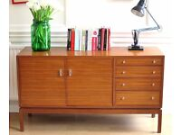 Stylish vintage 'Maple' Danish style walnut sideboard. Delivery. Modern / Midcentury.
