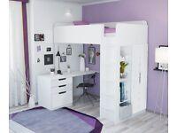 Brand New Kids White High Sleeper - Desk, Wardrobe, Bookcase Included for Boy, Girl or Teen