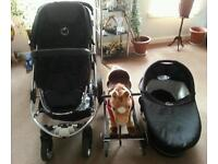 iCandy Apple pushchair, carrycot and a rocking horse