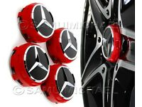 4 x AMG MERCEDES BENZ RED ALLOY WHEEL CENTRE CAPS NEW RAISED DESIGN STYLE