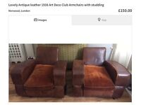 Lovely pair of Art Deco Club leather Armchairs