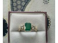 Gold Emerald and Diamond Ring size R