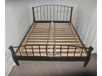 KING SIZE WOODEN BLACK BED FRAME