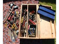Wooden Tool Box Full of Assorted Tools Kit