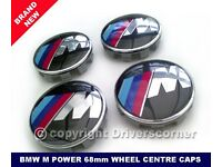 BMW M POWER WHEEL CENTRE CAPS 68MM BRAND NEW SET OF FOUR