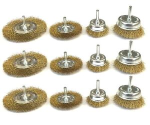 12 Assorted drill wire wheels, wire brush attachments for drills 1/4