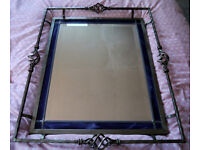 Substantial metal framed bevelled wall mirror 34 x 28in, cost £200 from John Lewis