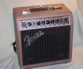 FENDER ACOUSTASONIC 15 AMPLIFIER - MINT CONDITION - VG SPECS - FOOT STWITCHABLE & EFFECTS/ MIC ETC