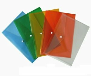 4 x A5 Assorted Colours Plastic Folder Document Wallets Poppers