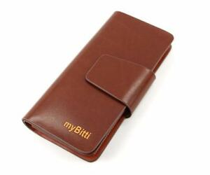 myBitti Business Style Men's Genuine Spainsh cow Leather Wallet Organizer with 24 Card Slots-WINE RED