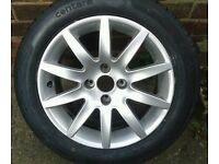 "1 X GENUINE PEUGEOT 308 SW 16"" ALLOY WHEEL & BRAND NEW 205 55 16 TYRE 4X108PCD"