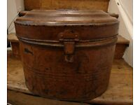Vintage Metal Tin Large Hat Box Trunk Chest Rustic Storage