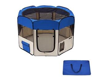 """45"""" Dog Kennel Pet Fence Puppy Soft Playpen Exercise Pen Folding Crate Blue New - BRAND NEW - FREE SHIPPING"""