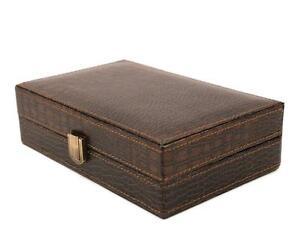 Executive High class crocodile leather Cufflink Case & Ring Storage Organizer Men's Jewelry Box (Brown)