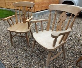 Natural Beech Wood Country Farmhouse Carver Fiddle Back Arm Chairs