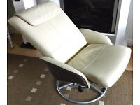 Leather reclining chair great condition comfy armchair swivels and reclines
