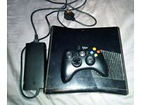 Xbox 360 Slim 250GB, Glossy Black, with Controller and Cables. Tested & Working