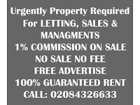 Property Required for Letting 100% Guranteed Rent Offered