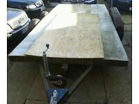 TWIN AXLE TRAILER (13'6 X 6ft) FOUR INDEPENDENT SUSPENSION UNITS. NEEDS SOME TLC