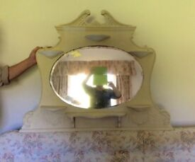 Painted cream wooden over mantle mirror