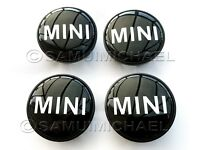 4 x MINI ALLOY WHEEL CENTRE CAPS 54mm BLACK WITH CHROME LETTERS